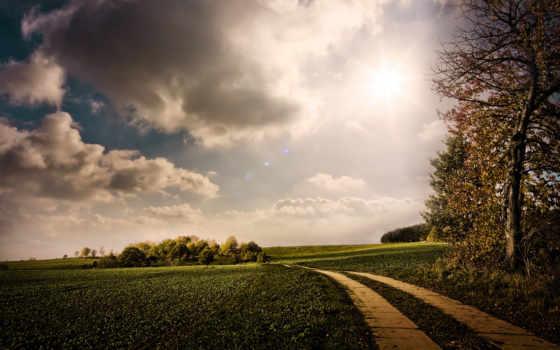 landscape, nature, autumn, serene, way, деревья, sunny, облака, charming, дорога,