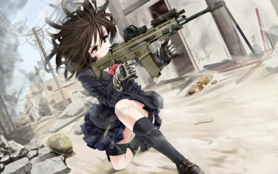 anime, девушка, оружием