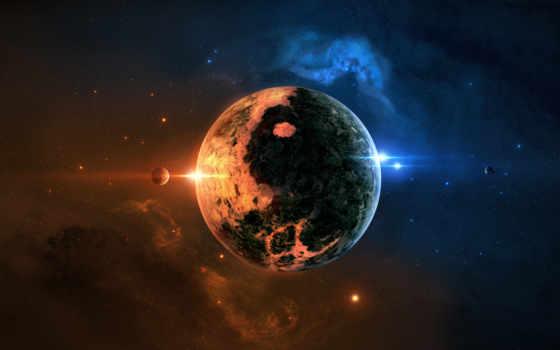 планета, звезды, туманность
