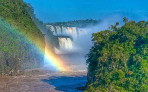 pantalla, fondo, cascadas, con, arcoiris, enormes, naturaleza, cascada, paisajes, fondos, arco,