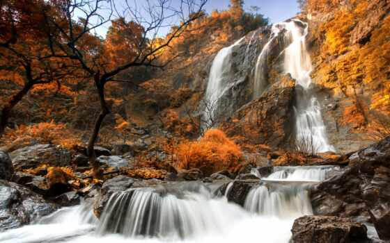 осень, водопад, mac