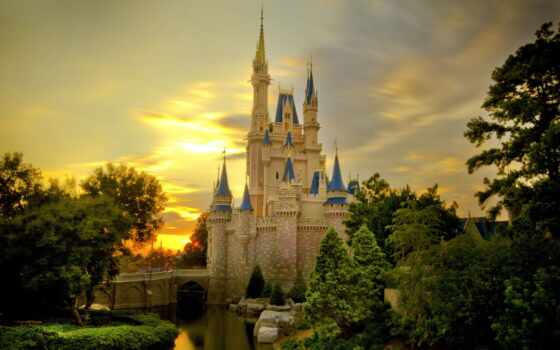 castle, sunset, cinderella