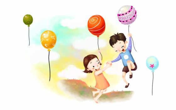 дети на шариках воздушных