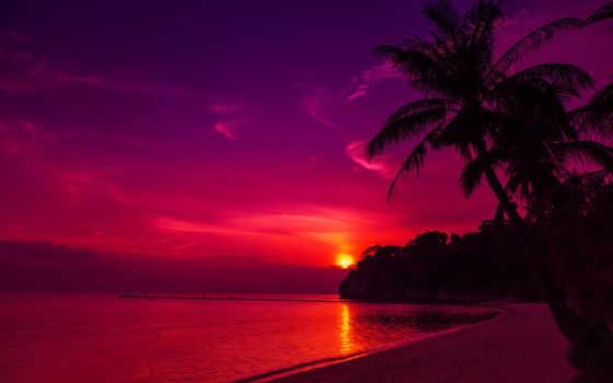 закат, пляж, high