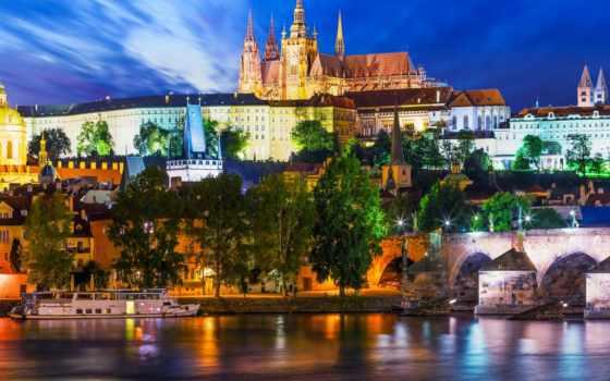 prag, tschechische, republik, von, landschaft, tschechien, die, abend, fluss, stadt, stockfoto,