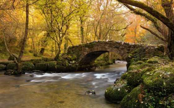 мост, осень, река, вышивки, схема, автора, paisajes, всех, яркая, схемы,