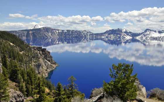 озеро, crater, горы, компьютер, шпалери, лес, oregon, природа, красивые,