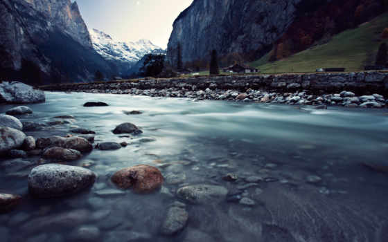 , река, горы, камни, поток, дома,