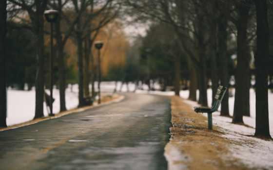 город, весна, widescreen, resolution, качество, скамейка, gang, снег, park, аллея