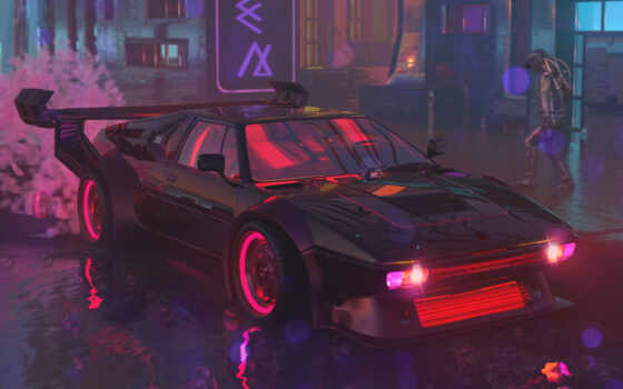 cyberpunk, авто, стиль, neon, illustration, car, город, фантастика, science, назад