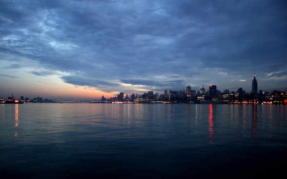 cityscape, dusk