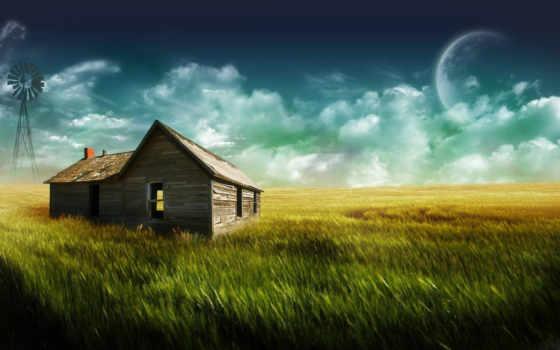 house, фотообои, широкоформатные, ферма, lodge, поле, деревне, стену,
