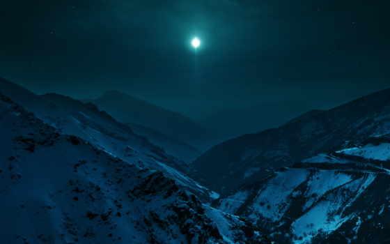 snowy, mountains, ночь, небо, со, луна, природа, гора,
