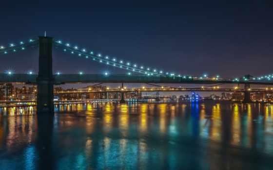 нью, город, york, мост, new, огни, бруклин, река, ночь,