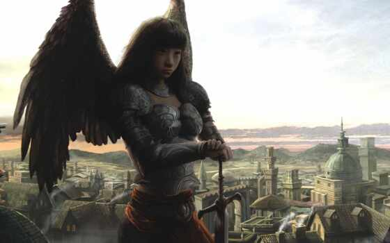 воин, art, девушка, крыло, доспех, fantasy