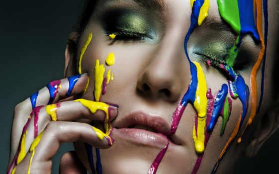 краски, любви, краска, девушка, лицо,