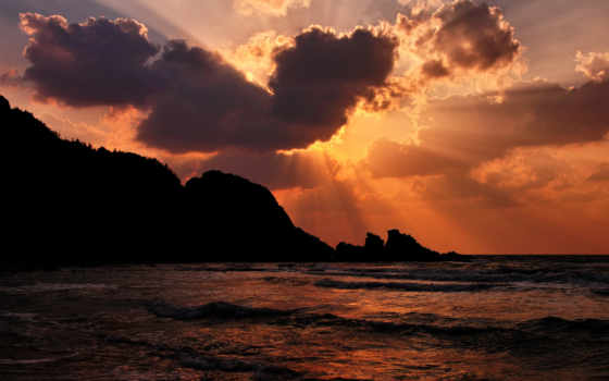 море, закат, пляж