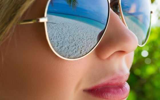 девушка, очки, отражение, пляж, лицо, devushki, очках,