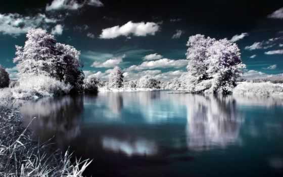 креатив, картинка, креативные, winter, часть, дек, озеро,