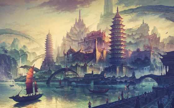 город, fantasy, китаянка, art, корабли, лучшая, коллекция,
