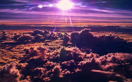 oblaka, sun, со, самолета, взгляд, облаками,
