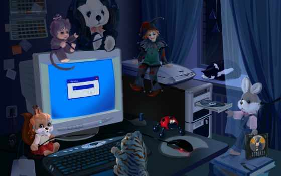 компьютером, игрушки