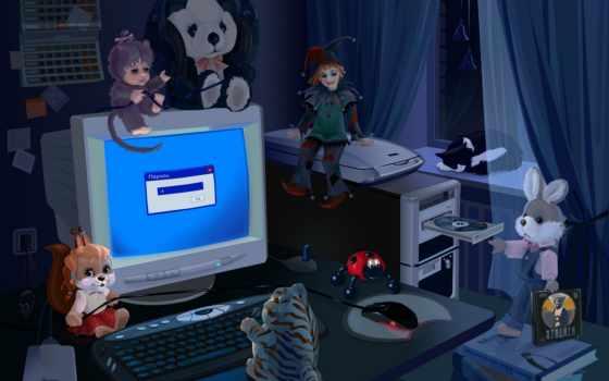 компьютером, игрушки, за, ожившие, рисунок, abstract, компьютер, комната, radieschen, art,