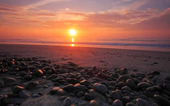 закат, море, природа, камни, берег, небо, sun, солнца, картинка, галька, ocean,