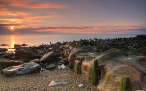 море, рассвет, sun, камень, пляж