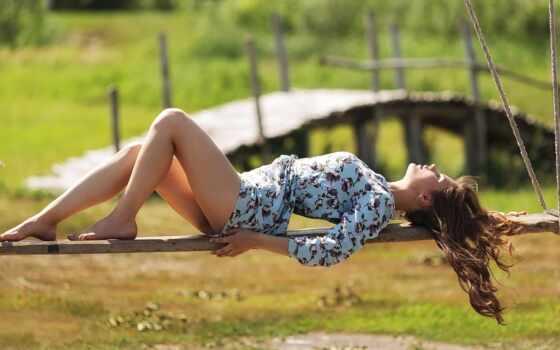 девушка, качели, ложь, car, красивый, summer