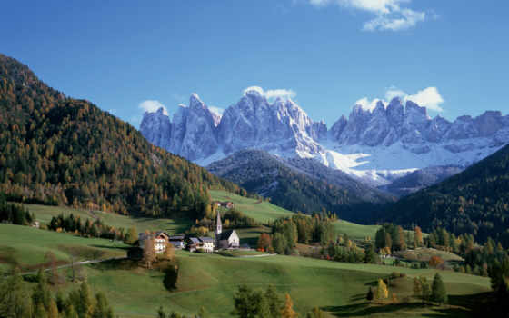 winter, взгляд, trees, горы, пейзажи, дома, деревня, луга, вершины,