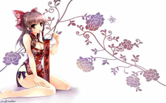 anime, touhou, цветы