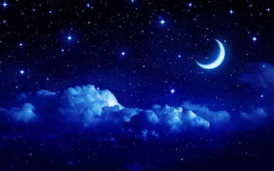 ночь, звезды, oblaka, луна, полумесяц, небо, month, сказ, полноэкранные, широкоэкранные, широкоформатные,