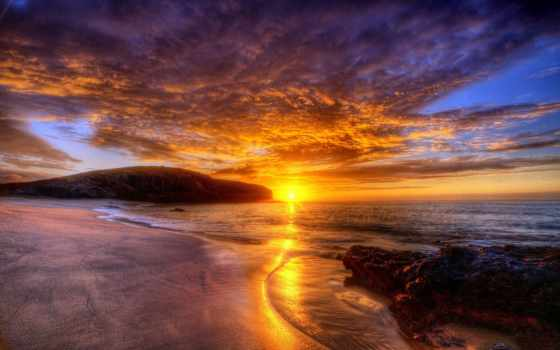 рассвет, закат, небо, oblaka, море, sun, свет, горы, горизонт,