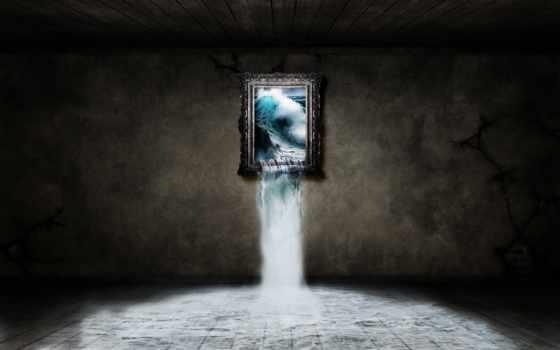 картинка, буря, ожившая, окно, море, комната, рамочка, стена, waves, водопад,