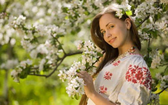 весна, девушка, национальной, одежде, лесу, саду,