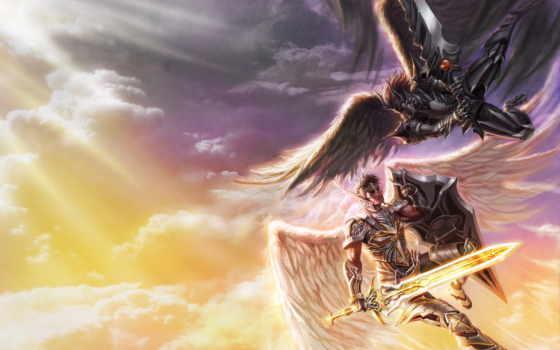 битва, ангелы, меч, демоны, art, злой, крылья, оружие, хороший, категории,