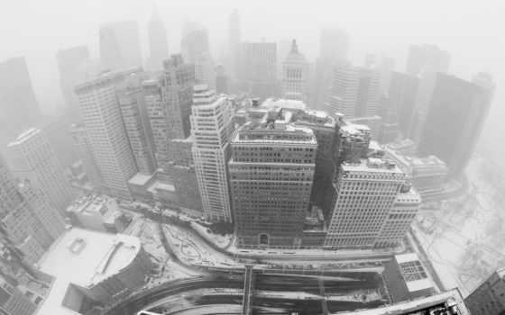 new, york, нью, вид, небоскребы, йорка, usa, снег, снегом, заметенные,