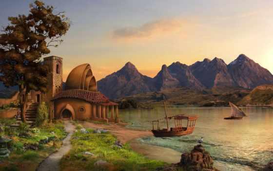 art, горы, корабли, house, озеро, sailboat, max, antonov,