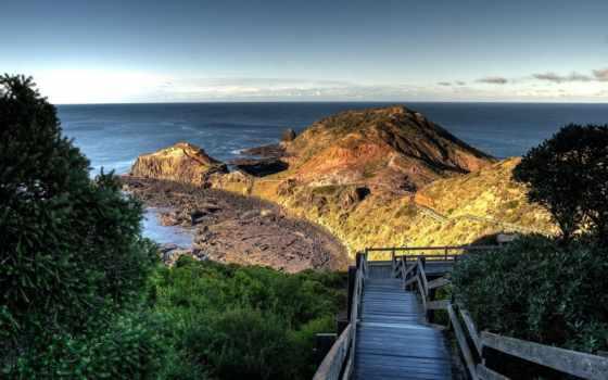 лестница, море, зелёный