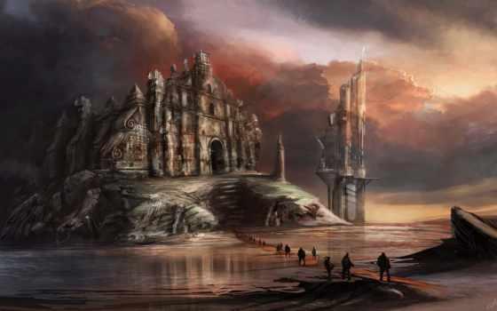 church, фантастика, art, люди, water, другая, planet,