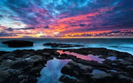 природа, небо, море, горизонт, картинка, рассветы, закаты, побережье, фотографий, oblaka,