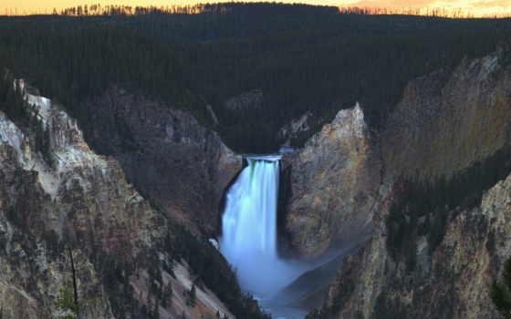 yellowstone, park, falls, national, каньон, grand, lower,