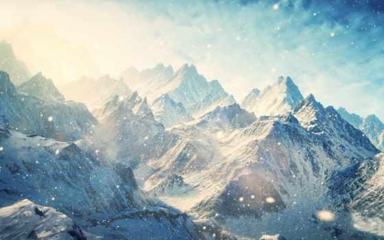 снег, пейзажи -, skyrim
