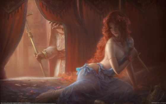 рыжая, девушка, art, оружие, кровать, нож, wangxiaoyu,