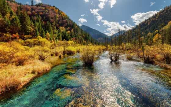 природа, река, park, гора, drawing, permission, вид, landscape, осень, лес