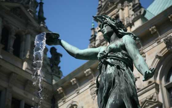 hd, женщина, широкоформатные, вода, статуя, германия, фонтан,