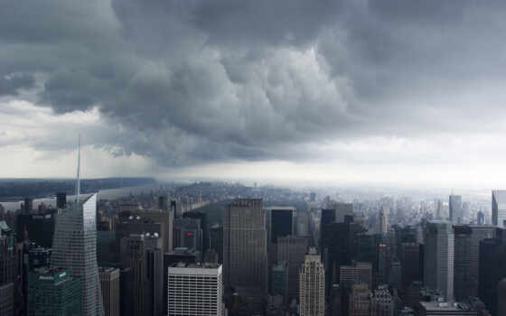 нью, йорк, сша, new, manhattan, usa, clouds, storm, nyc,