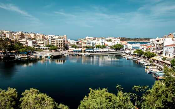 крит, greece, айос, залив, николаос, лодки, agios, гавань,