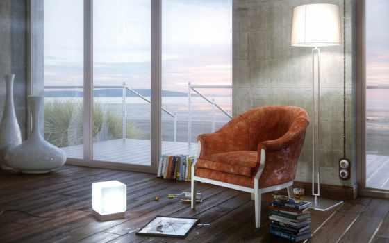 окна, комната, кресло